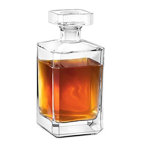 Murrano Whisky Karaffe - Whisky Dekanter - 700ml - mit luftdichtem Verschluss - Geschenk für Damen und Herren