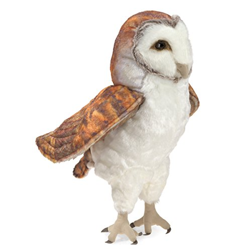 Folkmanis Barn Owl Hand Puppet, White, Brown, 8'