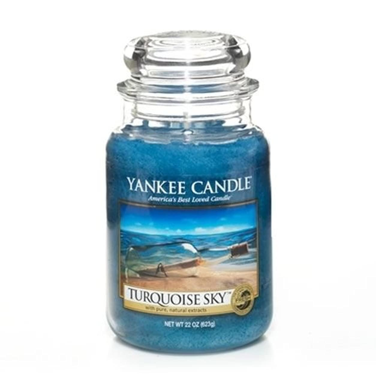 示す道徳のタフYankeeキャンドルターコイズSky Large Jar Candle、新鮮な香り