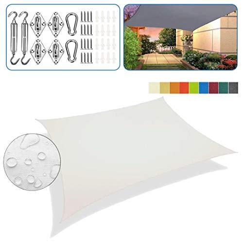 Sonnensegel aufrollbar Weiß viereckig 4x6m 95% UV-Schutz Overall Wasserdicht Sonnenblende Atmungsaktiv Für Terrasse Mit Befestigungssatz