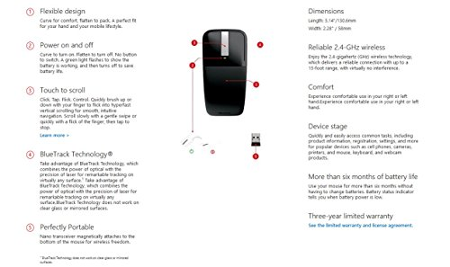 Microsoft Arc Touch Mouse (Maus, schwarz, kabellos, für Rechts- und Linkshänder geeignet)