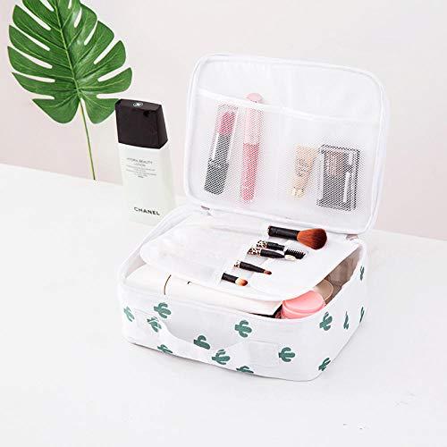 Promworld Sac cosmétique Multifonctionnel Femme Sac de Rangement cosmétique Portable Sac de Toilette Portable de Grande capacité - Section A-Cactus