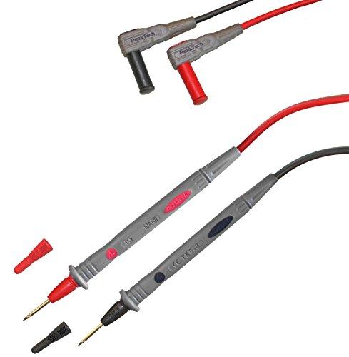 PeakTech 1 Paar flexible Multimeter Messleitungen 120 cm, 4mm Prüfleitungen, 1000 V AC/DC ; 10A ; CAT III / IV, 1 Stück, TKS-8