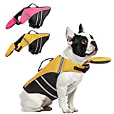 AOFITEE Dog Life Jacket French Bulldog Life Vest, Ripstop Safety Pet Lifesaver Swimsuit with Rescue Handle, Adjustable Reflective Dog Preserver Floatation Vest for Swimming, Yellow M