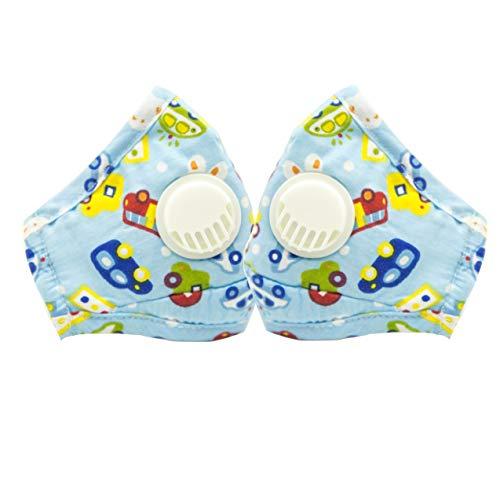 CHRISLZ 2 St¨¹ck PM2.5 Kinder Reine Baumwollmaske Wiederverwendbare Anti-Fog Anti Staub mit Filter Atemschutzmaske Kinder Mund Maske(CAR)