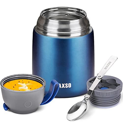 Termo para comida, 500 ml, acero inoxidable, recipiente aislante para alimentos calientes, comida, comida para bebés, sopa, recipiente aislante con cuchara termo azul