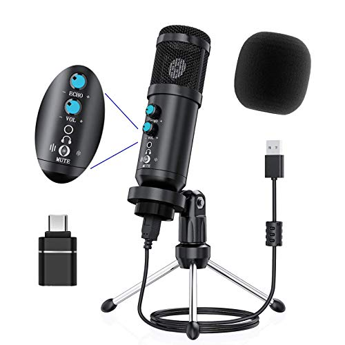 PC Microphone, USB Microphone with Tripod Stand Mute Button Latency-Free,...