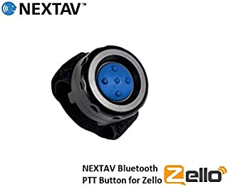 NEXTAV Wireless Bluetooth PTT Button Switch for iPhone iOS Only for Zello ZelloWork App with Strap Fastener with Blue Color Rubber Button [PTT-Zb]