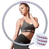 Fitness Hula Hoop - Aro para adultos con 1,3 kg de peso, ondas y 6 + 1 secciones desmontables - Hula Hoop para adelgazar con cinta de yoga y bolsa de muñeca (gris + rosa)