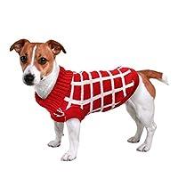 Home+ 犬の冬の服 ペット服 コート・ジャケット ペット犬の冬の暖かい小中犬猫チワワROPAパラPERRO S-2XL用ジャンパーセーター犬子犬服 #h (Color : RedWhite, Size : M)