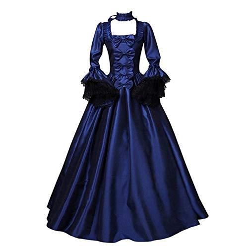 LFANH Frauen Renaissance Gothic dunkle Königin Kleid Ballkleid Steampunk Vampir Halloween-Kostüm für Erwachsene,Navy Blue,XXXL