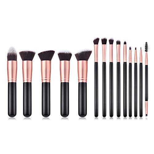 DMXY 14pcs pinceaux de maquillage ensemble professionnel noir poignée en bois fibre fard à paupières fondation maquillage pinceau sac ensemble outil,A