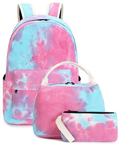 BLUBOON Teenager Rucksack Set Canvas Mädchen Schultaschen Büchertaschen 3 in 1