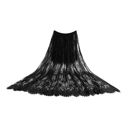 Tela de encaje con estampado de flores, tela de encaje bordada, decoración de boda, vestido de novia, aplique, ropa, cortinas, 300 cm x 150 cm / 300 cm x 110 cm (negro, 300 x 150 cm)
