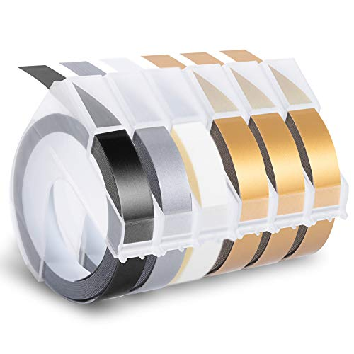 Invoker kompatible Prägeband als Ersatz für Dymo 3D Prägegerät band Vinyl Kunststoff 9mm,für Dymo Junior Etikettenprägegerät Dymo Omega Junior Embosser,White on Schwarz/Gold/Silber/Transparent