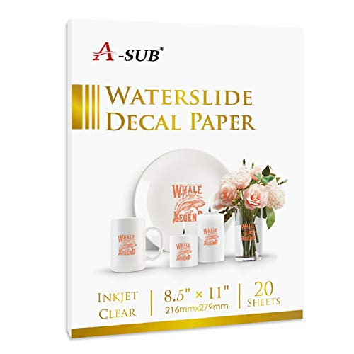 A-SUB Waterslide Decal Paper for Inkjet Printers 20 Sheets Clear...