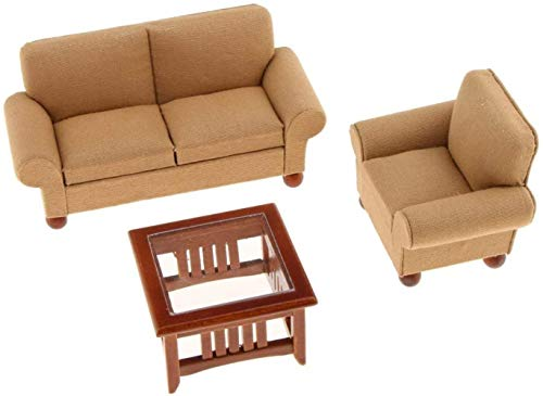 hsj Toy 1: 12. Skaladollhouse Miniature Zweisitzer-Couch Einzel Sofa Teetisch Set Gelb Exquisite Verarbeitung
