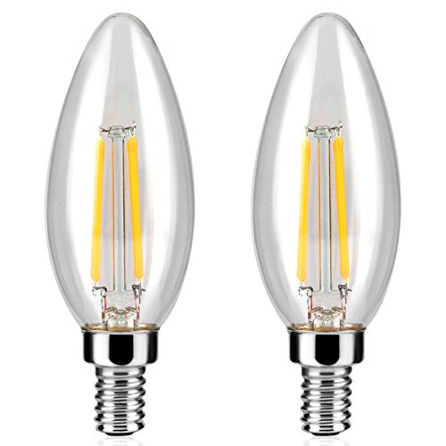 Dimmable LED Edison Bulbs, 4W (Equivalent 60W) Candelabra E12 Base Bulbs for Ceiling Fan/Table Lamp, 2700K Warm White, 400 Lumens, UL Listed, Pack of 2
