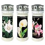 3 candele per tomba – Lumino per tomba – Candela commemorativa – Bruciatore permanente 150-160 ore.