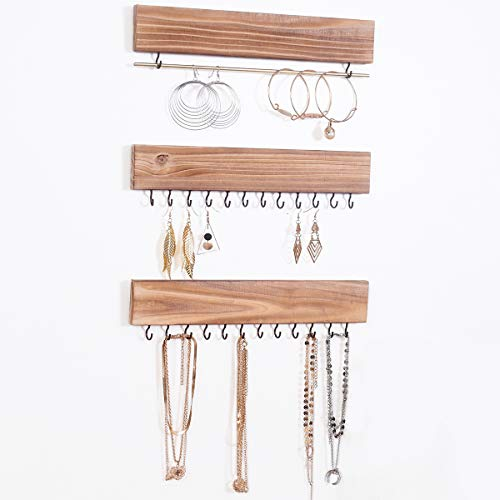 RHF 12in Jewelry Organizer for Wall Set of 3, Rustic Wood & Metal Wall Mount Organizer with 26 Hooks, for Earrings Bar, Hanging Rings, Necklaces and Bracelet, Nice Gift for Woman (1pack, Light Brown)