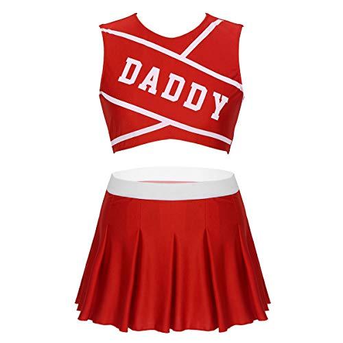 ranrann Uniforme de Animadora para Mujer Adulto Cosplay Disfraz de Porrista Cheerleading Tenis Fútbol Crop Top + Falda Plisada Costume para Fiesta Chica Rojo Small