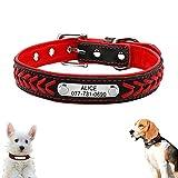 ZOVCO Collares para Perros Personalizables, Trenzado de Cuero Grabado Collares de Perro con Placa de Identificación Personalizada, para Perros Pequeños, Medianos y Grandes- Rojo- L