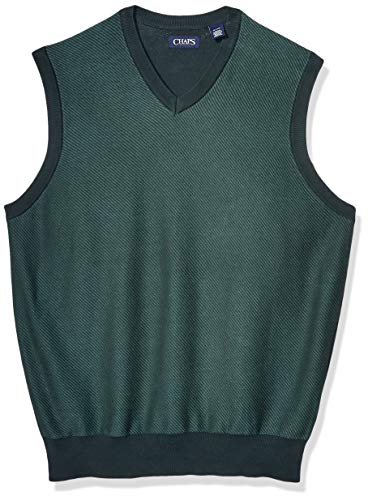 Chaps Men's Big and Tall Cotton V-Neck Sweater Vest, Hunt Club Green Multi, LT
