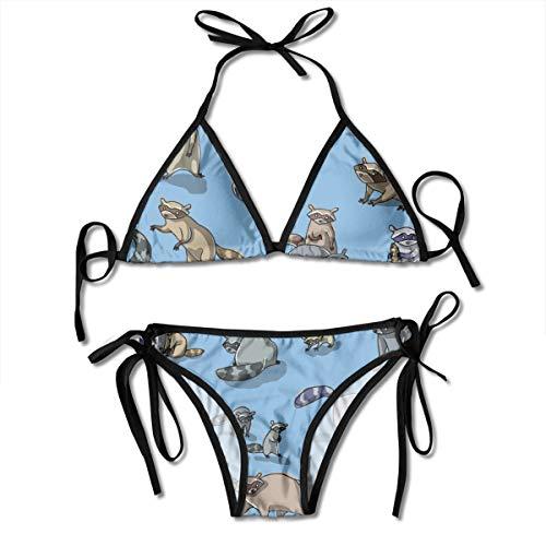 Mujeres Mapache Jugando Dos Piezas Correa de Las Mujeres Lado Profundo V Imprimir High Cut Bikini Set Traje de baño