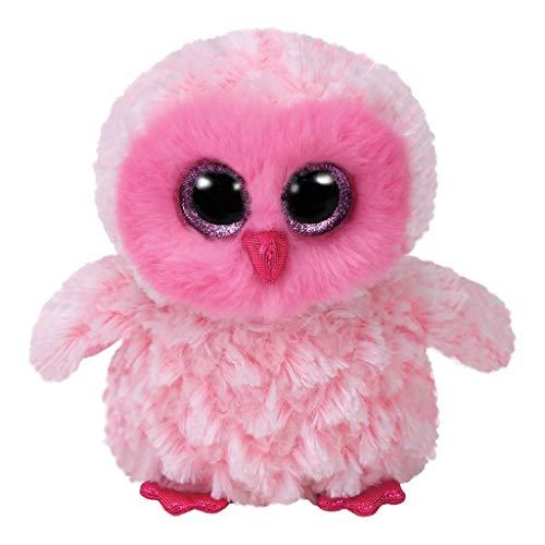 TY Owl 36846 Twiggy, Eule mit Glitzeraugen, Beanie Boo's, Plüsch, Rosa/Weiß, 15 cm