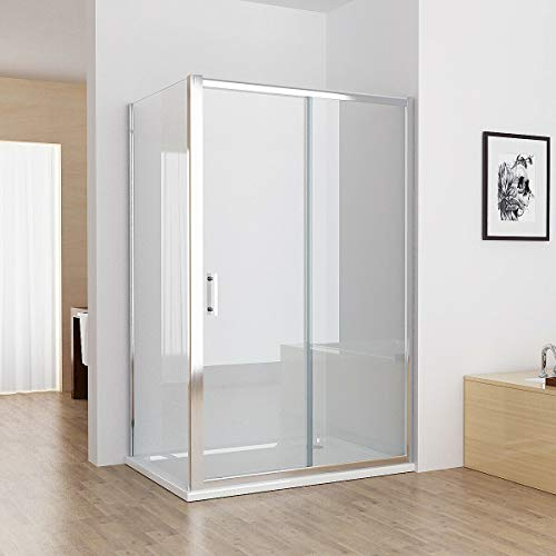 MIQU 1100 x 900 mm Sliding Shower Enclosure Cubicle Door with 900 mm Side Panel Corner Entry Easy Clean Nano Glass Screen - No Tray