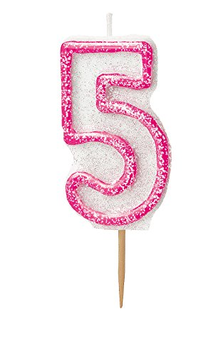 Unique Party- Vela de cumpleaños número 5, Color rosa brillante (37915)