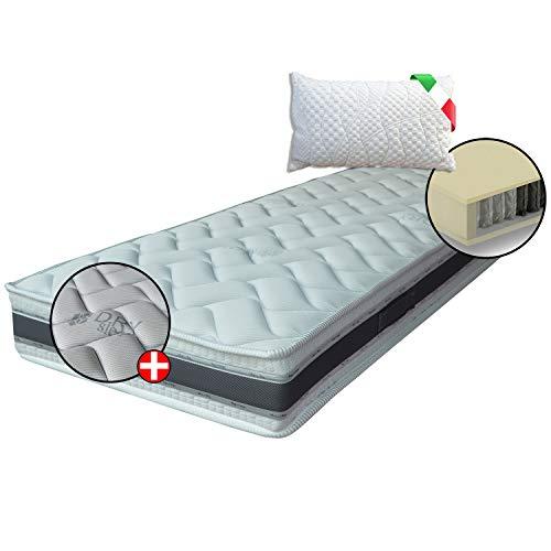 Materasso ORTOPEDICO 400 molle insacchettate indipendenti, MATERASSO DISPOSITIVO MEDICO, Comfort 7 zone+1 cuscino, fascia 3D e fibre Naturali, singolo 110x190 cm