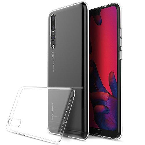 Smartphone-Schutzhülle, kompatibel zum Huawei P20, transparente Silikonhülle, stoßdämpfend, inkl. Displayschutzfolie aus Sicherheitsglas