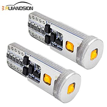 Ruiandsion 2pcs 194 LED Light Bulb 12-24V Super Bright CREE LED Chipsets 168 2825 W5W T10 Wedge LED Replacement Bulbs Canbus Error Free for Car Door Courtesy License Plate Lights,Yellow