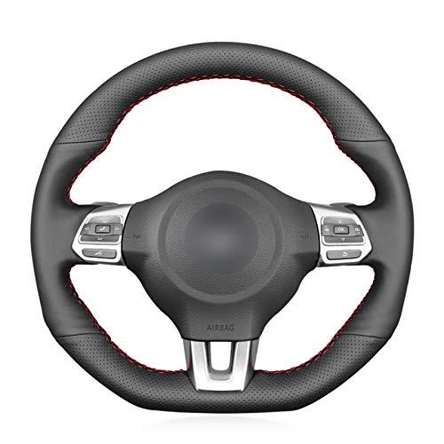 WANGXI Accesorios de la Cubierta del Volante del Coche cosidos a Mano,para VW Golf 6 GTI MK6 Polo GTI Scirocco R Passat CC R-Line 2010