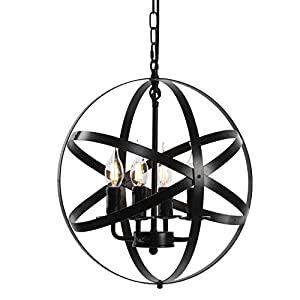 """Lika 4-Light Chandelier 15.7"""" Farmhouse Rustic Industrial Pendant Lighting with Metal Spherical Shade Black Chandeliers for Dining Room, Kitchen, Foyer"""