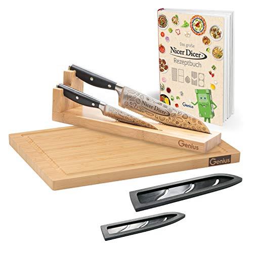 Genius Nicer Dicer Knife Professional 7-teilig mit Schneidbrett Messerblock Rezeptheft - scharfes Messer-Set schwarz rostfreier Edelstahl Präzisionsklingen mit Wellenschnitt