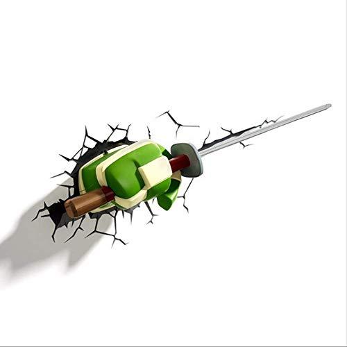 RUOXI Aufkleber Auto 3D Kreative Persönlichkeit Blockieren Kratzer Paste 3D Ninja Turtles Auto Körper Motorrad Malerei Dekoration PasteAlte Ninja Messer (28 cm X 11,5 cm)
