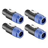 Neewer 4-paquete Conector de Cable Speakon - Conector de Altavoz Cerradura de Torcedura 4-pértiga Compatible con Neutrik Speakon NL4FC, NL4FX, NLT4X, NL2FC (Azul)