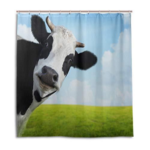 CPYang Duschvorhänge niedliches Tier Kuh Muster Wasserdicht Schimmelresistent Bad Vorhang Badezimmer Home Decor 168 x 182 cm mit 12 Haken