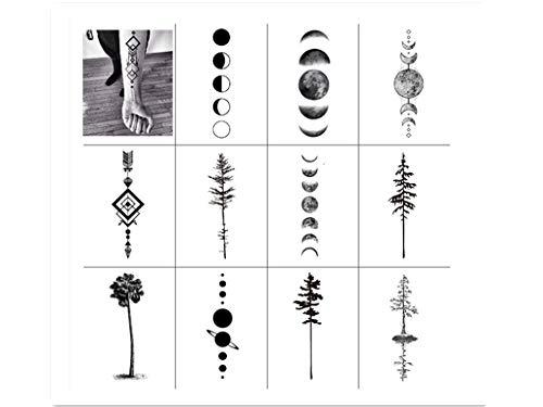 SanerLian Black Geometry Tree Tattoo Sticker Moon Phase Arrow Temporary Fake Tatoo Waterproof Men Women Arm Shoulder Back Body Art 13.8X4cm Set of 12 (SF031)