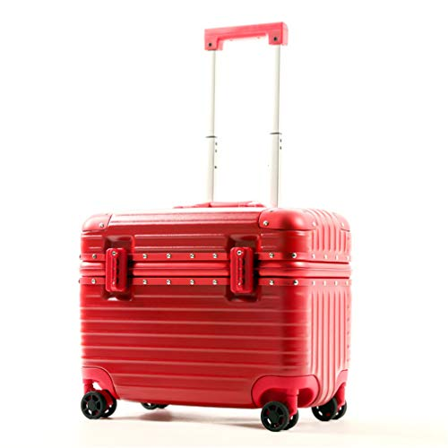 BBXW Carry-on Luggage Suitcase,Hardside Luggage With Spinner Wheels,Lightweight Expandable Suitcase,Small,Aluminum Frame Red 44x26x37cm