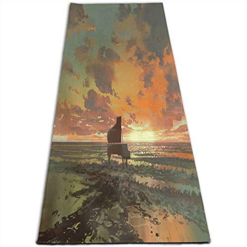 LOSUMIGE Esterilla Yoga pintura surrealista de fusión de piano negro en la playa al atardecer Colchonetas de ejercicio Pilates para entrenamiento en casa Gimnasio Fitness Meditación Alfombra