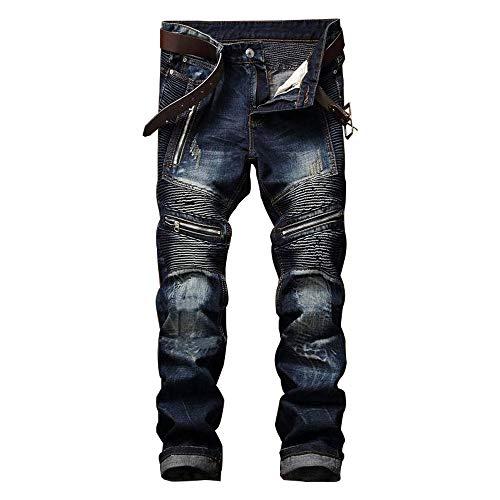 AITITIA Men's Biker Zipper Deco Washed Straight Fit Jean (30W x 31L, Dark Blue)