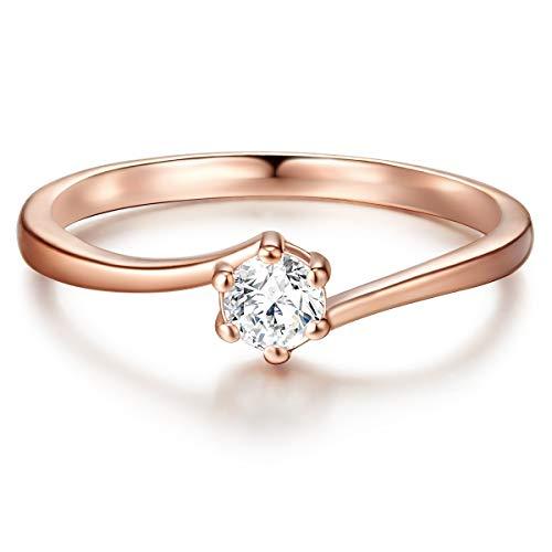 Tresor 1934 Damen-Ring Verlobungsring Sterling Silber in Roségold-Farben mit Zirkonia weiß in Brilliant-Schliff - Solitär-Ring mit Stein Trauring für Hochzeit rosévergoldet