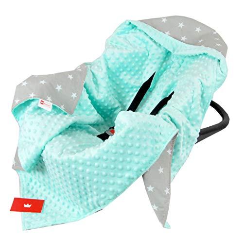 BabyLux Baby EINSCHLAGDECKE 90x90 cm Babyschale Kinderwagen Buggy Minky Decke (14. Minze + Sterne)