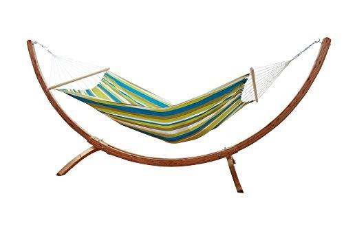 MacaMex Hangmatset Siesta Grande Houten standaard met groene hangmat Caribe Beach weerbestendig