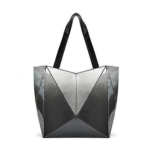 QXbecky Europa y los Estados Unidos tecnología de gran capacidad plegable geométrico con cremallera bolso nano ultraligero Lingge bolso bolso de hombro para mujer Amazon
