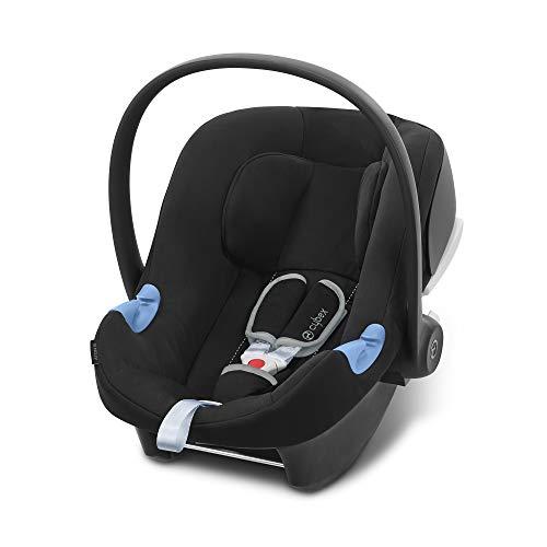 CYBEX Silver Babyschale Aton B i-Size, Inkl. Neugeboreneneinlage, Ab Geburt bis ca. 24 Monate, 45 bis 87 cm, Max. 13 kg, Für Autos mit und ohne ISOFIX, Volcano Black