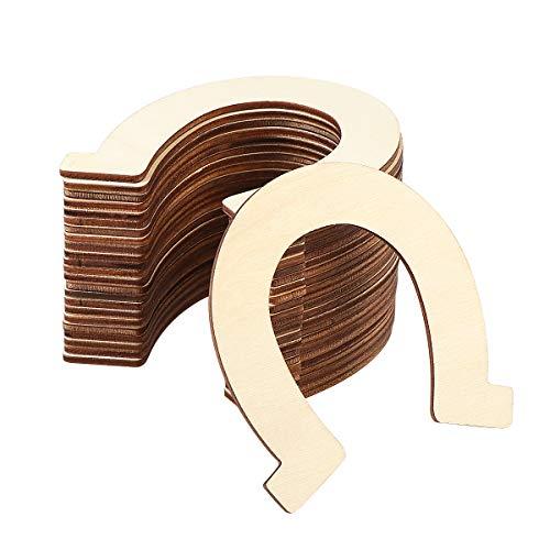 Supvox Unvollendete Holz Ausschnitte Holz Hufeisen Unlackiert Laser Cut Natürliche Chipform 24 STÜCKE